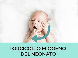 Questa foto mostra un Torcicollo miogeno del neonato destro, ossia contratture al collo che costringono il bambino a ruotare la testa sempre dallo stesso lato